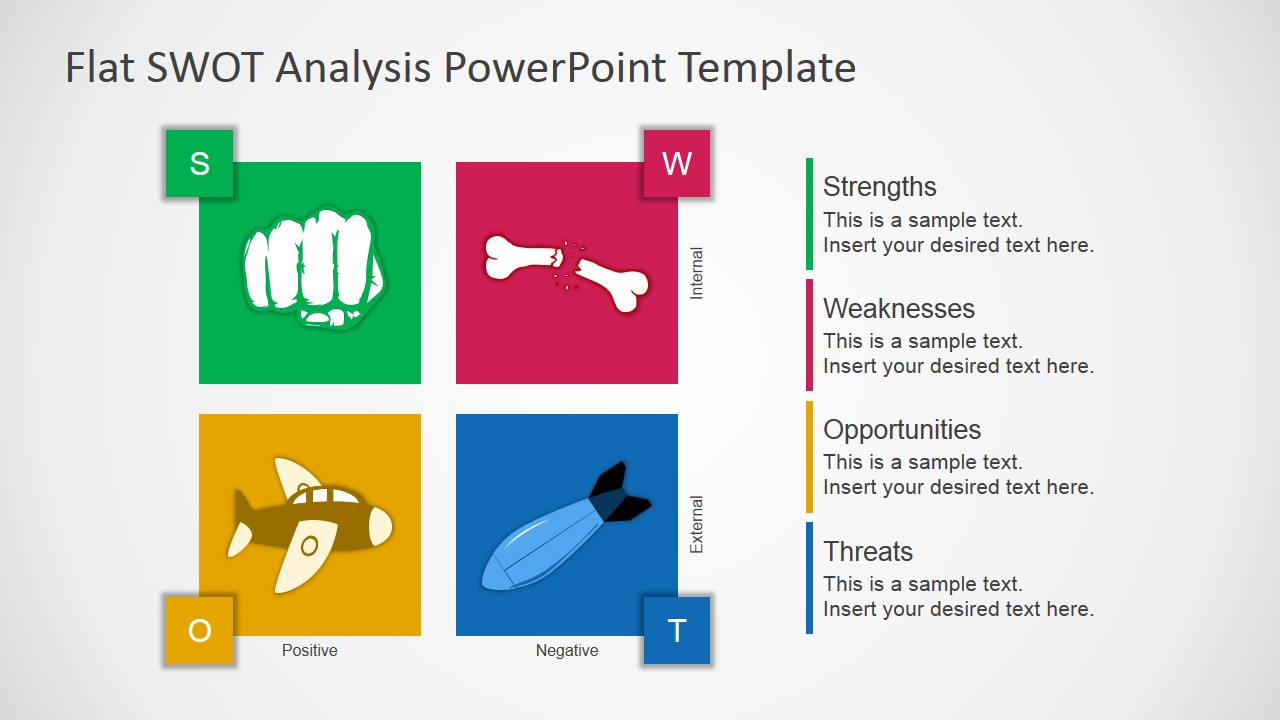 free flat swot analysis presentation template - slidemodel, Presentation templates