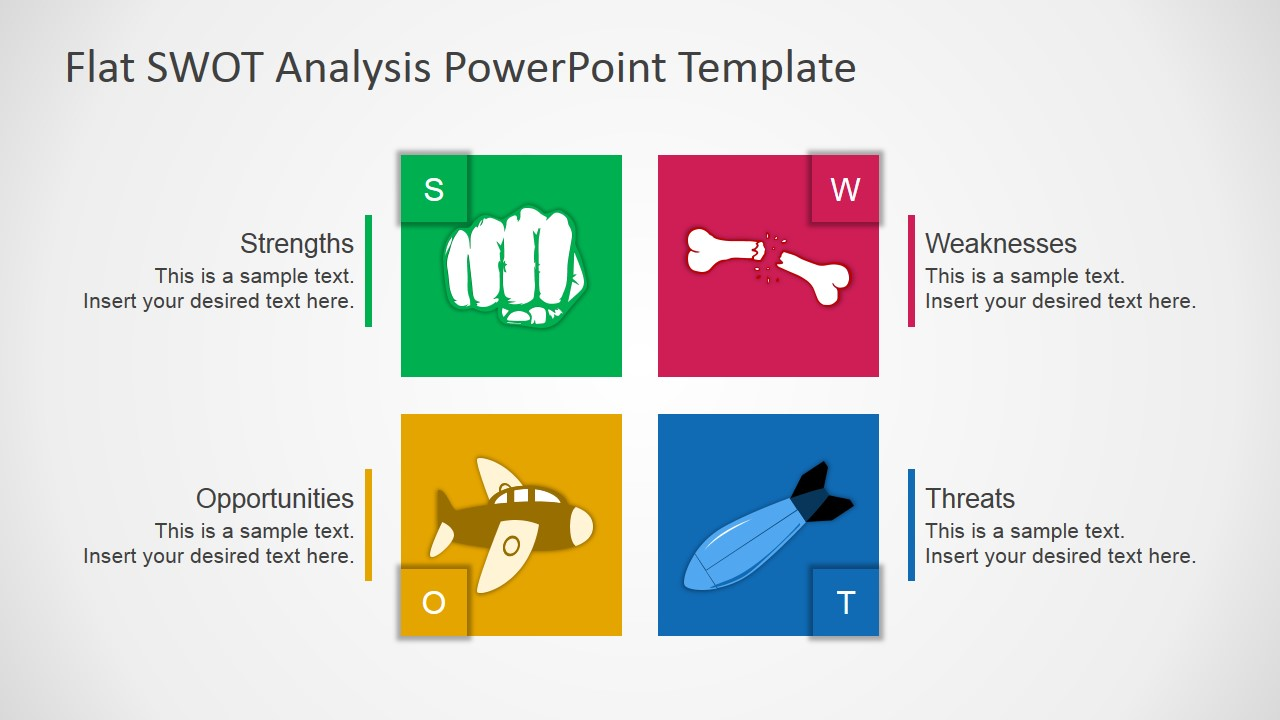 PowerPoint Template Flat SWOT Analysis Template