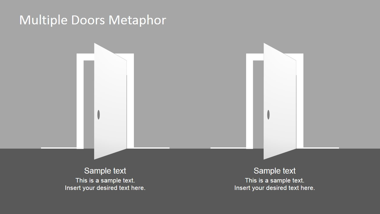 Free PowerPoint Template Two Doors Clipart