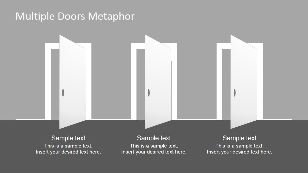 Multiple Doors Metaphor Free PowerPoint Template - SlideModel