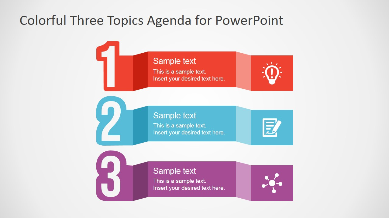 Free colorful three topics agenda for powerpoint slidemodel powerpoint three steps agenda design alramifo Images