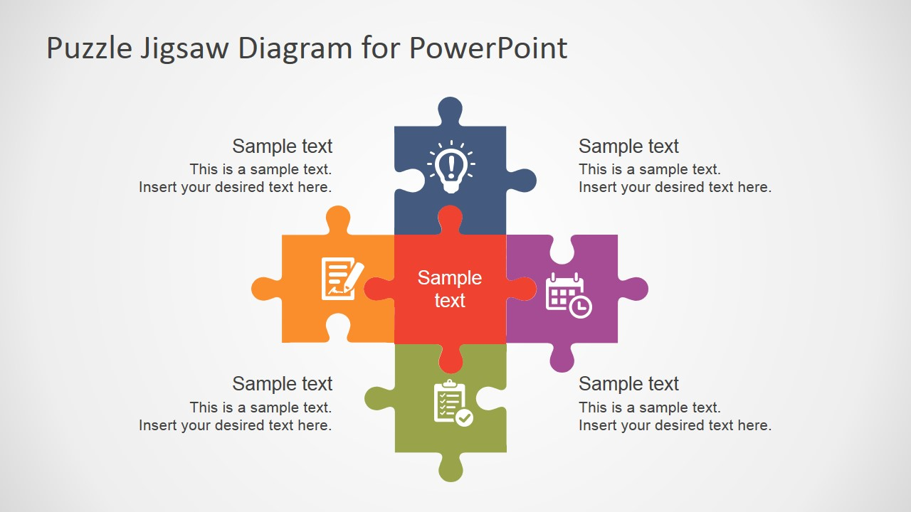 free flat puzzle jigsaw powerpoint diagram  slidemodel, Powerpoint