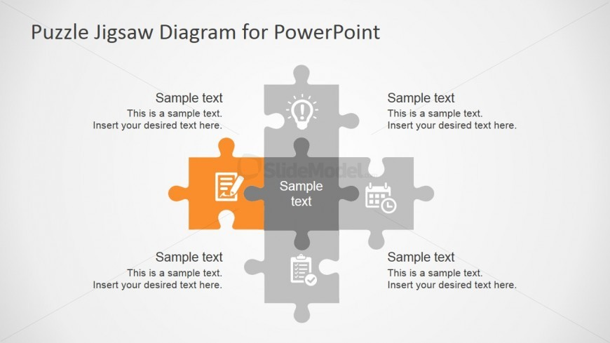 Five Steps Jigsaw Puzzle Powerpoint Template - Slidemodel
