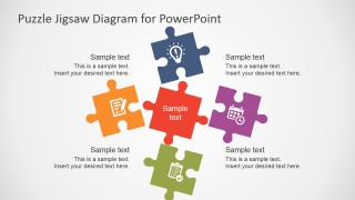 Free flat puzzle jigsaw powerpoint diagram slidemodel ppt template 5 pieces free flat puzzle jigsaw powerpoint diagram ccuart