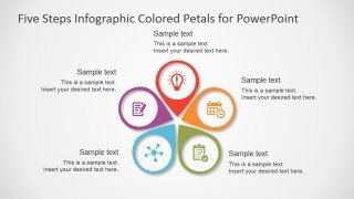 five steps infographic colored petals free powerpoint diagram