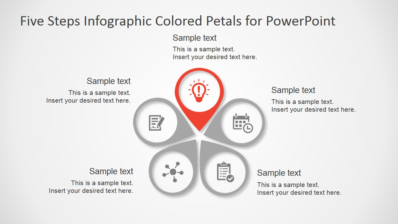 five steps infographic colored petals free powerpoint process flow diagram keynote
