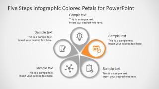 PPT Template Petals Diagram Five Steps