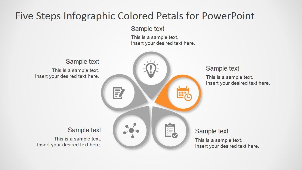 five steps infographic colored petals free powerpoint diagram slidemodel. Black Bedroom Furniture Sets. Home Design Ideas