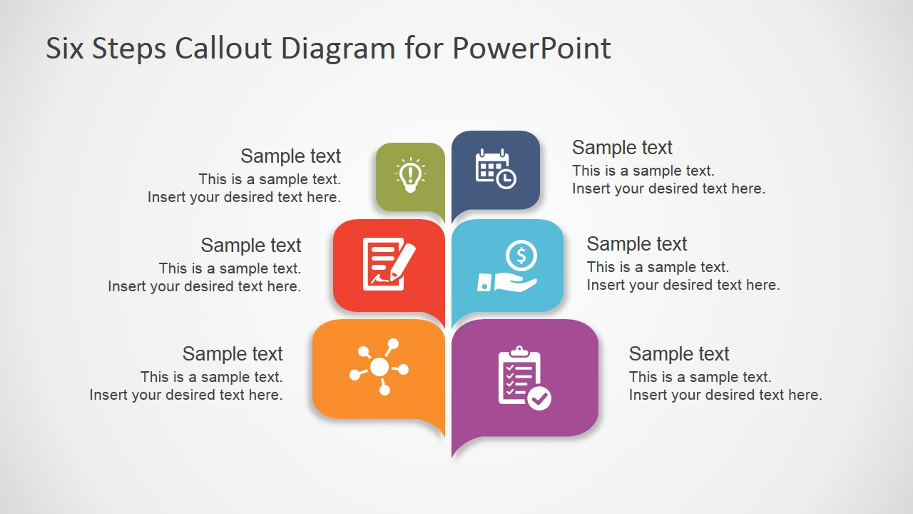 Free six steps callout diagram for powerpoint slidemodel ppt template callout boxes steps toneelgroepblik Image collections