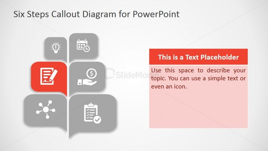 PowerPoint Template Callout Design of Six Steps