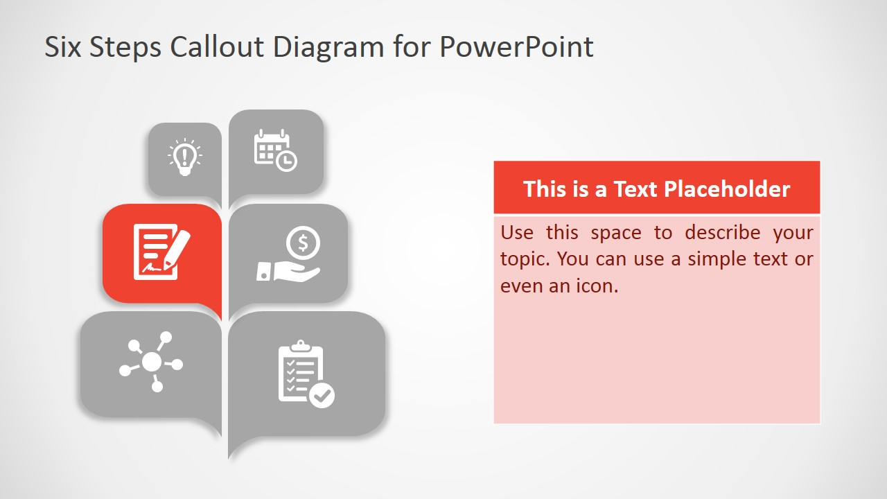 Free six steps callout diagram for powerpoint slidemodel powerpoint template callout design of six steps toneelgroepblik Gallery