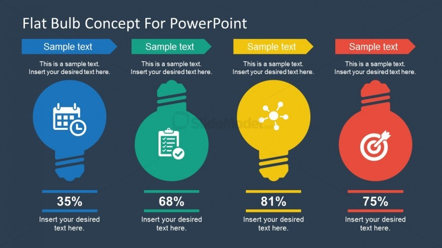Free PowerPoint Flat Bulb Concept Slides
