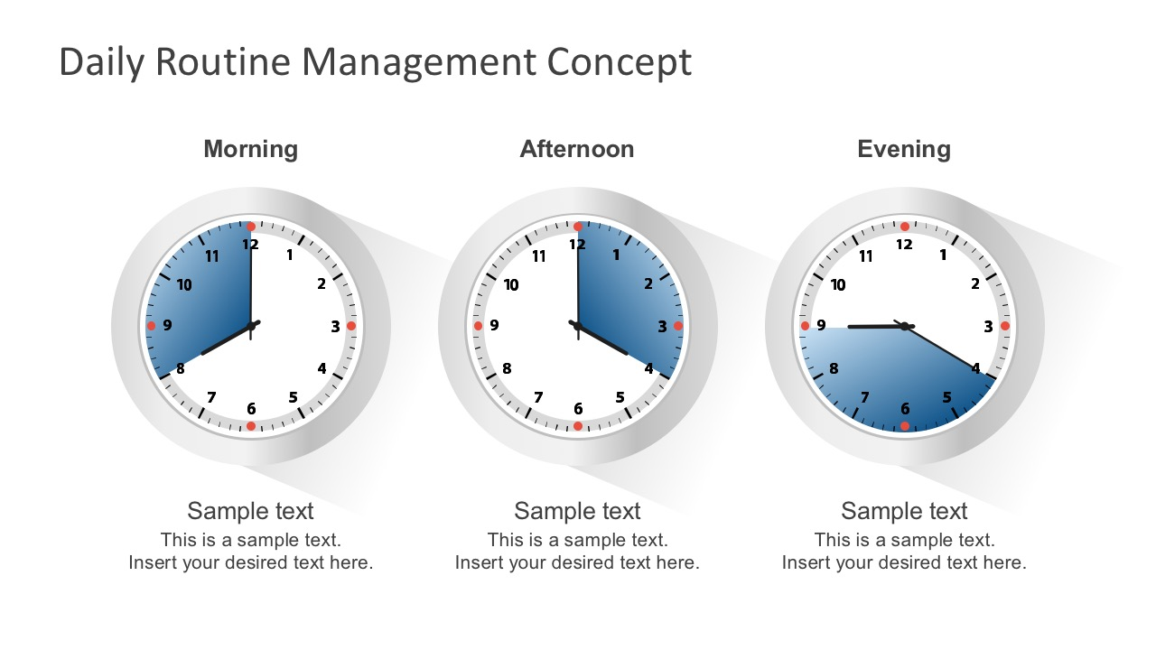 Free Flat Analog Clock For PowerPoint Vectors