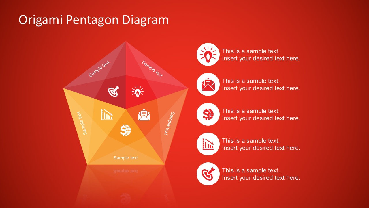 Red Background Origami Pentagon Free Diagram