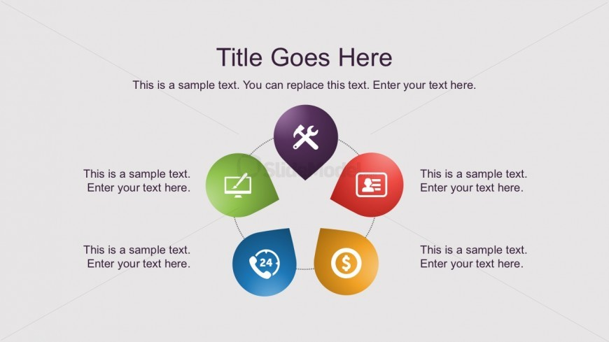 5 Steps Circle Process Diagrams Free PowerPoint