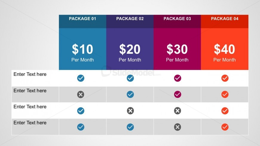 Free Monthly Subscription Packages Template for PowerPoint – Product Comparison Template Word
