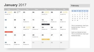 January 2017 Calendar PowerPoint Slides