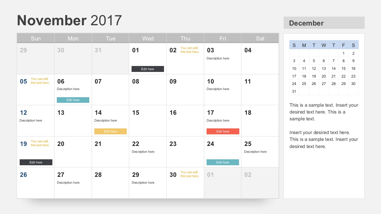 November 2017 Calendar PowerPoint Slides