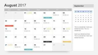 August 2017 Calendar PowerPoint Slides