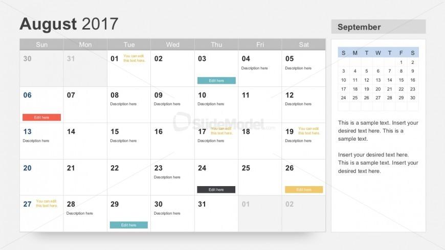 August 2017 Calendar PowerPoint Slides