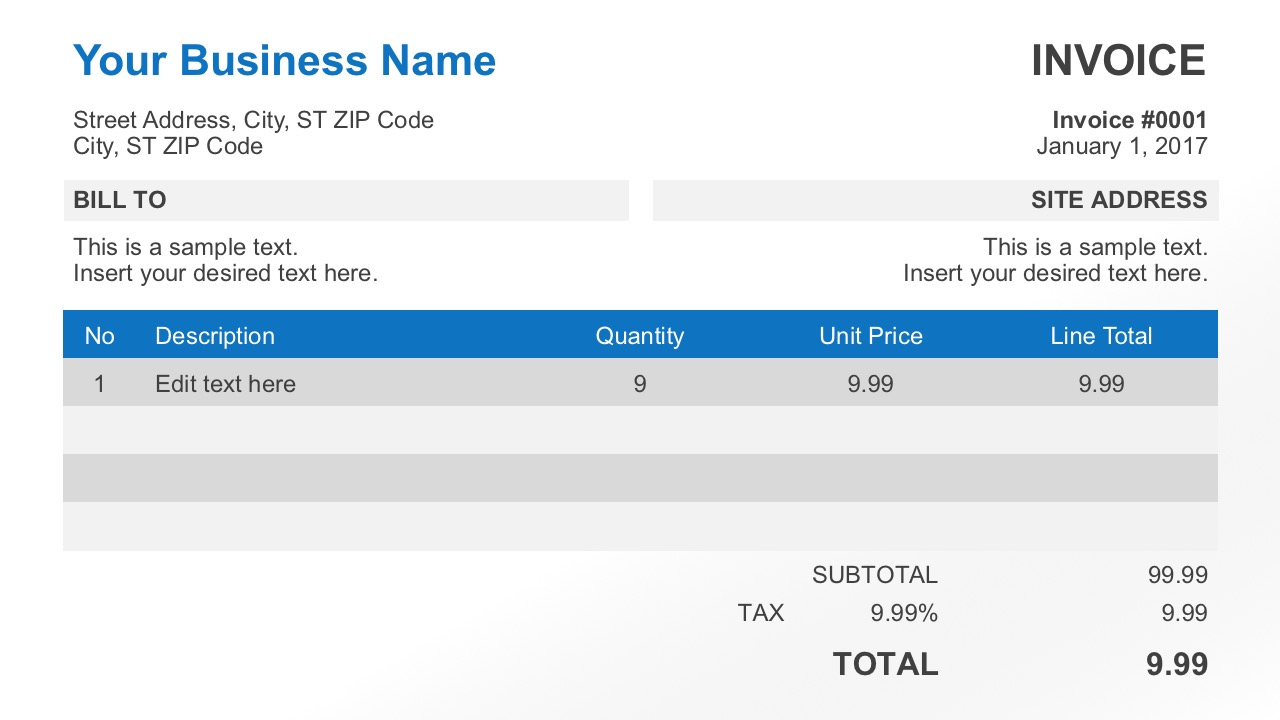 Free Editable Business Invoice for PowerPoint