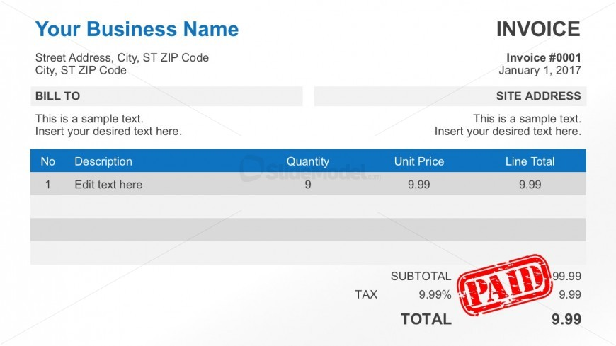 Free Business Receipt Invoice for PowerPoint