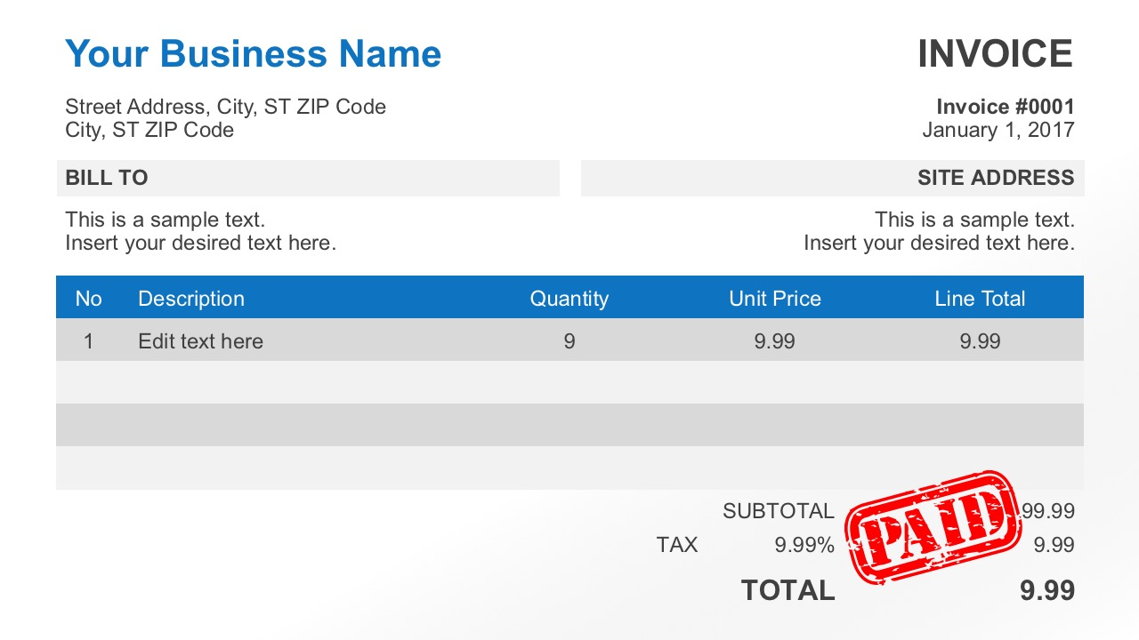 simple invoice template for powerpoint