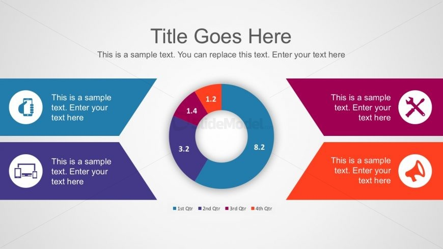 Free 4-Steps Process Donut Chart Diagrams