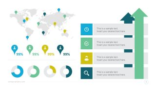 Data Charts Dashboard with World Map Infographics