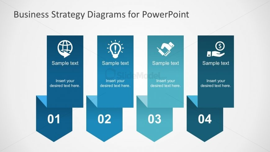 Free Paper Folded Arrow Diagrams for PowerPoint