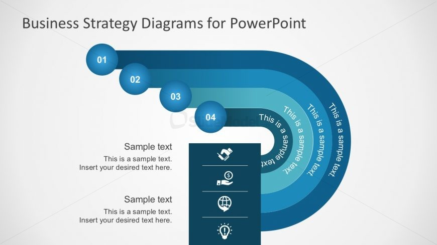 Free 4-Step Blue Tone Process Diagrams