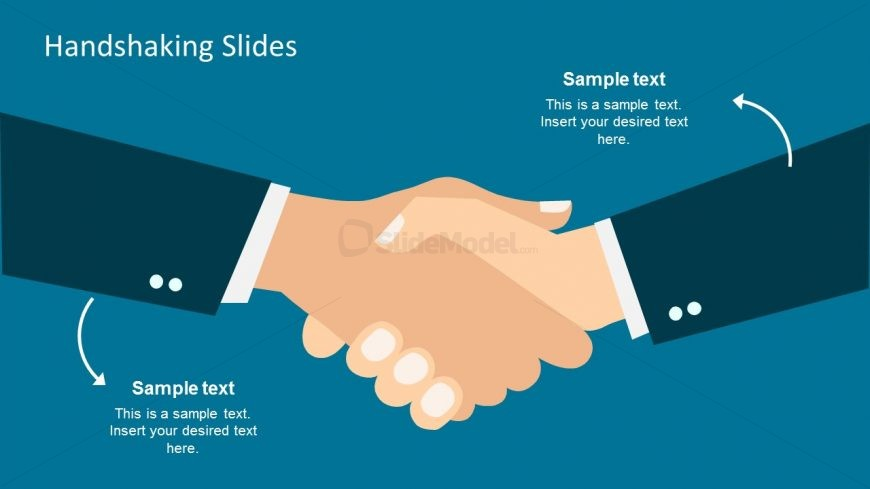 Right Hands Shaking Vector for PowerPoint.
