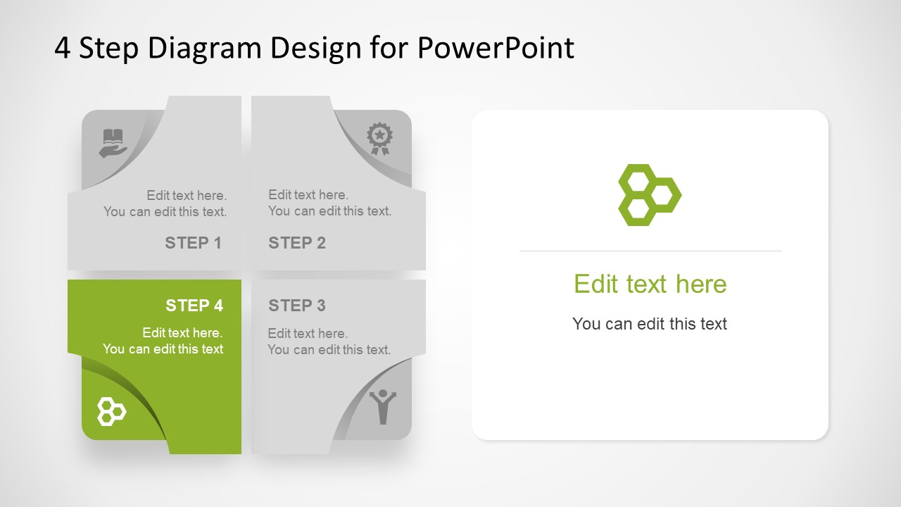 Editable Diagram 4 Step Free PowerPoint