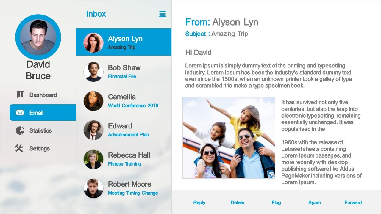 Dashboard Mockup Design Email System