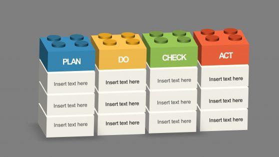 PPT Template PDCA Lego Blocks