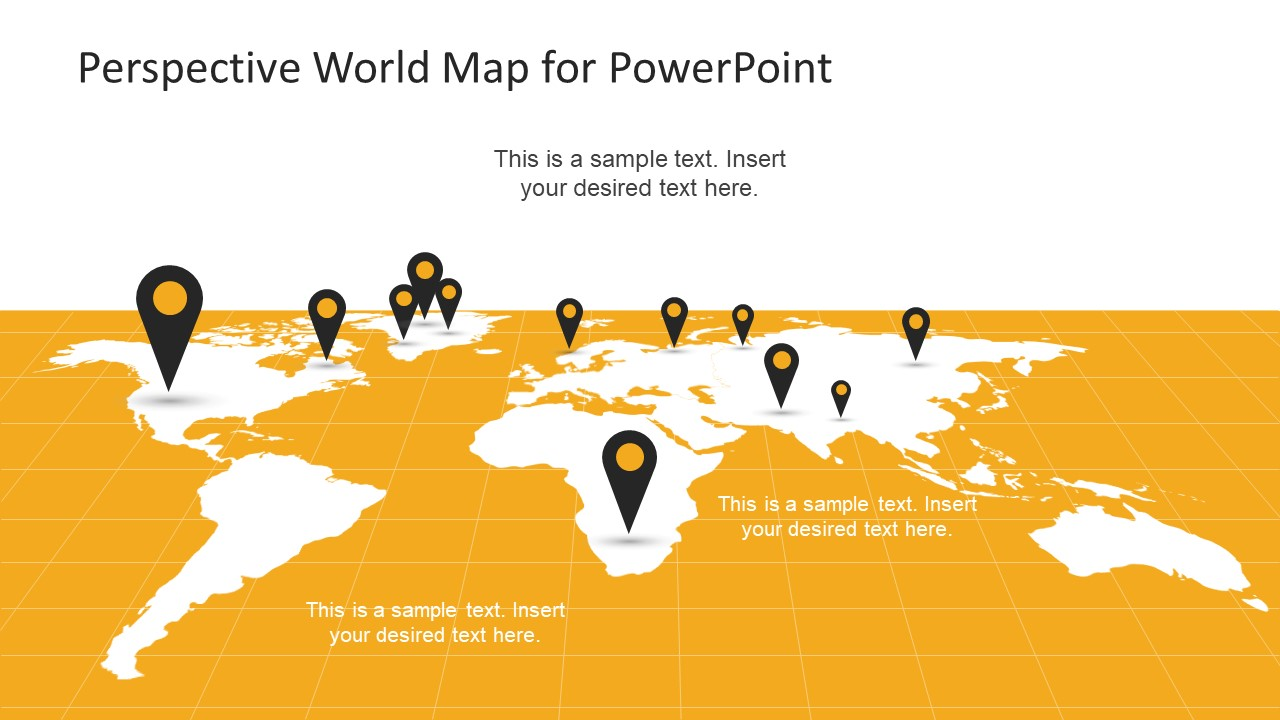 Perspective World Map Free PPT