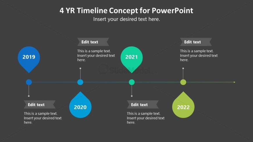 4 Milestones PowerPoint Diagram