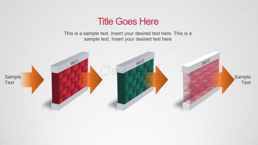 Timeline PowerPoint 3D Bricks Wall