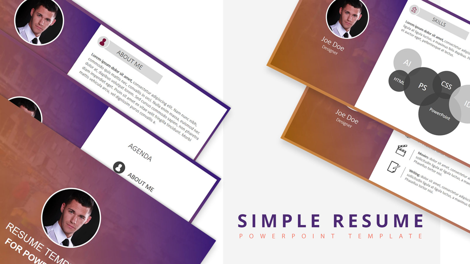 free simple resume powerpoint template