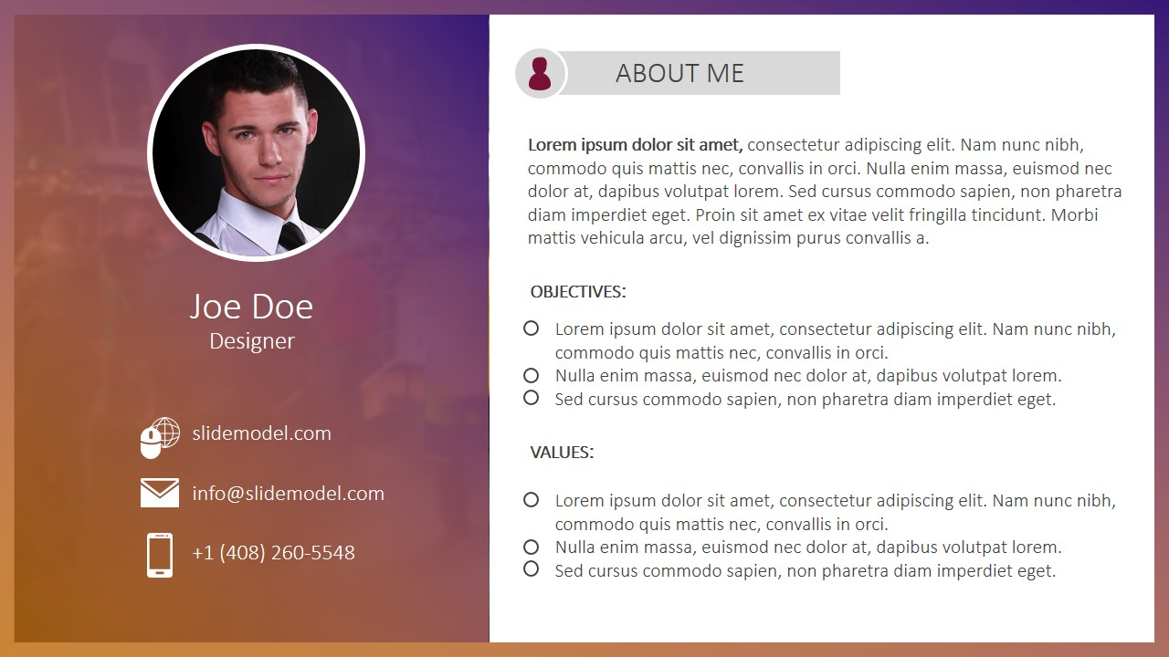 About Me PPT Design