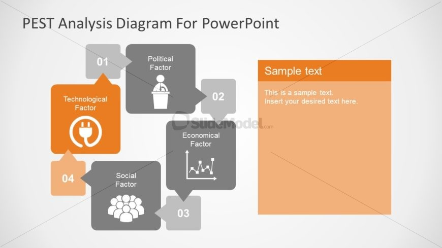 Flat PowerPoint PEST Analysis Diagram
