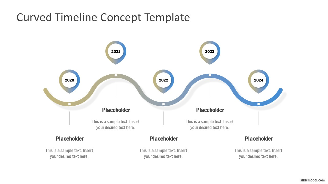 Free Curved Timeline Concept For Powerpoint Slidemodel