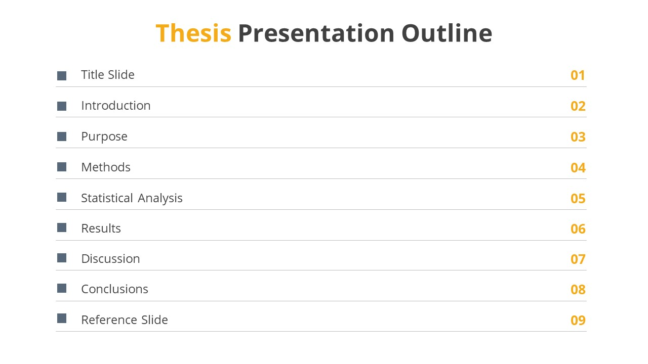 Table of Contents for Thesis Work