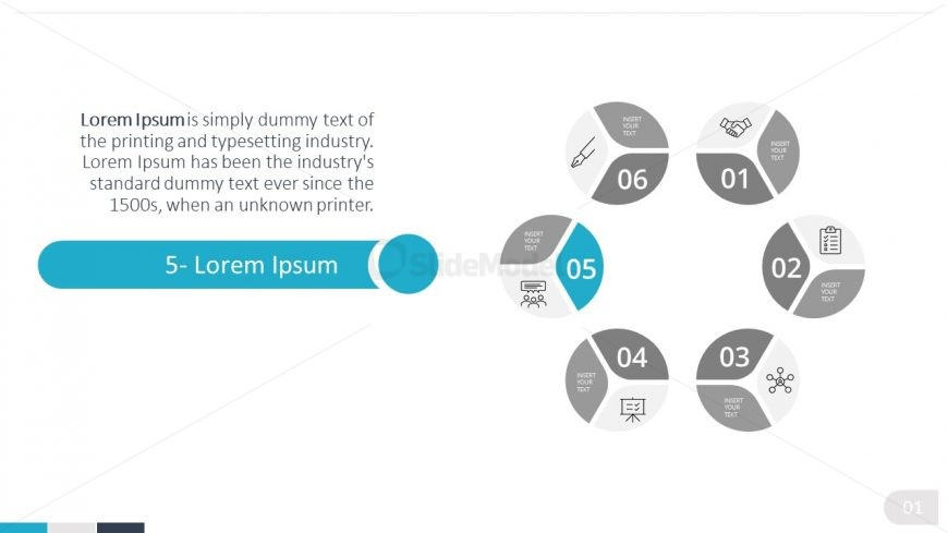 PowerPoint 6 Steps Lifecycle Diagram