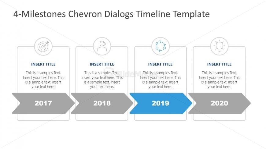 4 Steps Chevron Dialogs Diagram