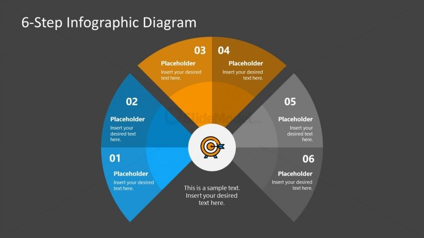 PPT 6 Steps Fan Chart Diagram