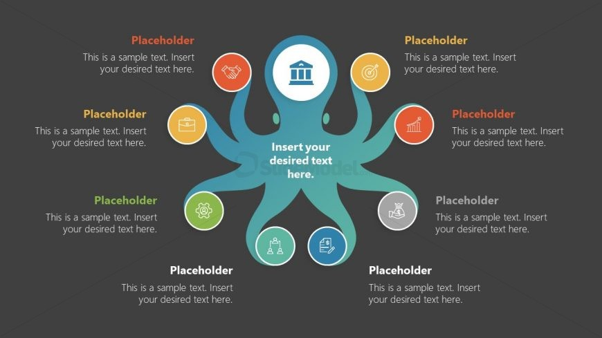 PowerPoint Diagram Template of Octopus Shape