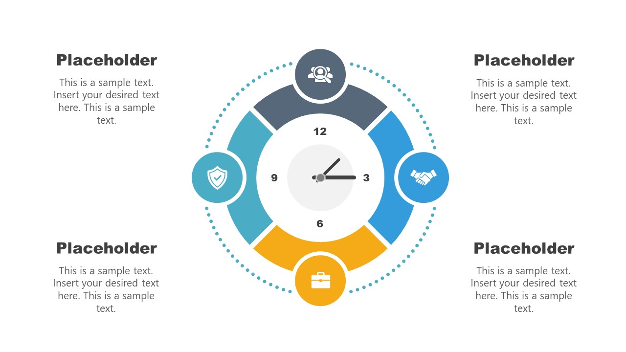 4 Steps Clock Shape Time Management Template