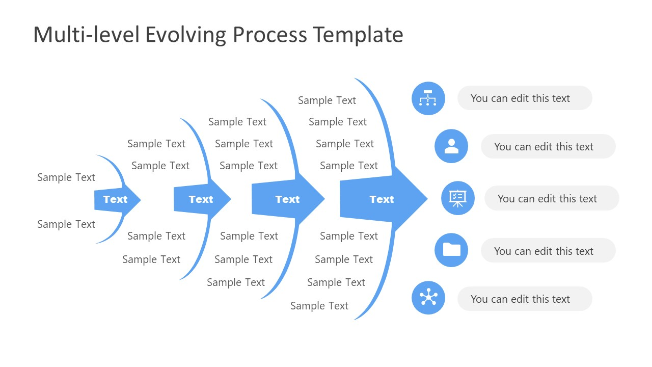 4 Steps Evolving Process Arrow PowerPoint