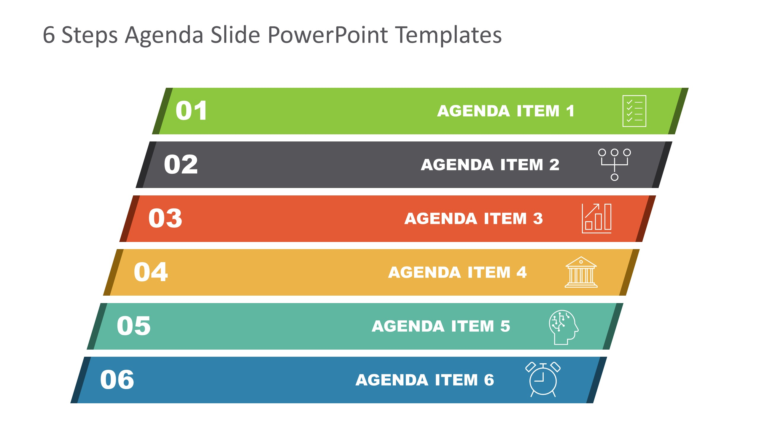 Agenda Presentation Template of 6 Items